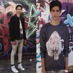 Amine Ouazar - Zara, Cheap Monday, Nike Blazer, Http://Mrgugu.Com/Collections/Sweaters/Products/Leopard Sweater Men - Mr. Gugu & Miss Go