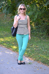 Nelle Creations - Express Stripe Peplum, William Rast Jeans, Express Bag - Stripes