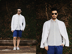 Anderson Gimenez - Ray Ban Aviator, Reserva Blazer, Mandi Liberty Shirt, Noir, Le Lis Shorts, Lacoste Sneakers - Crown on the Ground