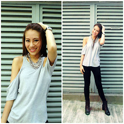 Joey Bellabel - Cay And Bella Online Shop Love Game Grey Top, Harvey Nichols Venna Necklace, H&M Black Skinny Jean - Love game