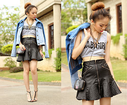 Stephanie D - Pinkaholic Babygirl Cropped Top, Pinkaholic Leather Frill Skirt, Oasap Clutch - Leather babygirl