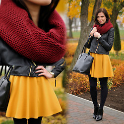 Renata M.. - Reserved Scarf, Mango Jacket, Nife Dress, Zara Boots - Mustard dress