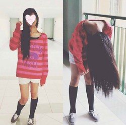 Nicole Sanchez - American Apparel Red And Pink Stripes, Vans Gray - Sweater Weather