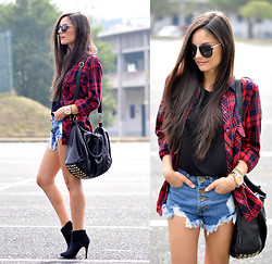 Alba . - Sheinside Shorts, Zerouv Sunglasses - ...Tartan Shirt...