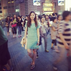 Julius Zhu - Forever 21 Lace Dress, Guess? Golden Watch, Aerosoles Royalblue Sandals - Live in the crowd