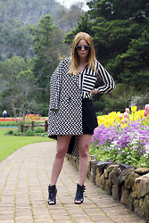 Kiara King - Lespecs Sunglasses, Asos Textured Coat, A Day In The Life Boutique Striped Blouse, A Day In The Life Boutique Asymmetric Skirt, Tony Bianco Arcadia Booties - STRIPES AND FLOWERS