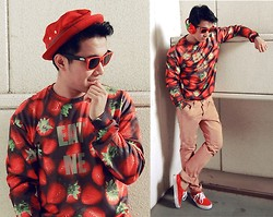 KIKO CAGAYAT - Mr.Gugu & Miss Go Strawberries Sweater, Uniqlo Red Hat, Vans Red Sneaks, Pants - Mr. Gugu & Ms. Go- Strawberries sweater