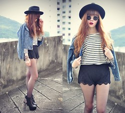 Tess Lively - Oasap Studded Denim Jacket, Thescarletroom Stripe Top, Sheinside Lace Shorts, Jeffrey Campbell Litas - Two promises
