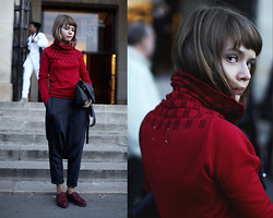 Vasilisa Gg - Maison Martin Margiela Sweater, Cos Leather Bag, Marc By Jacobs Red Boots - In Margiela at Margiela