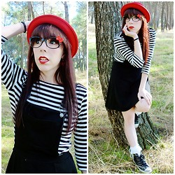Natalia L. - Asos Black Pinafore Dress, Zara Bxw Striped Top - You can keep me at a distance if you don't trust my resistan