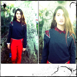 Shahaf Zalait - Bershka Checks Shirt, Monki Zipper Top, H&M Red Jeans - Checks