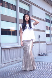 Kristen Lam - Line & Dot Sequin Maxi, Forever 21 Boyfriend T - I just love your flashy ways