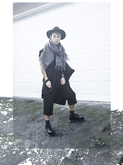 Marchel Creative - H&M Hat, Forever 21 Scarf, Complex Geometries Hush T, Thrifted/Diy 3/4 Pant, Solestruck Platform Brogues, O.S. Accessories Bone Earring - Witching Hour