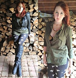 Reba H - Forever 21 Army Blouse, Forever 21 Cat Leggings, Vintage Leather Jacket - Never Trust Your Heart