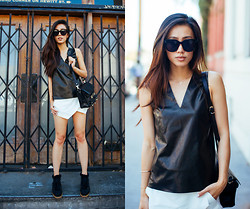 Jenny Ong - Vince Leather Shell Top, Isabel Marant Sneaker Wedges, Proenza Schouler Ps11, Jennifer Zeuner Wishbone Necklace - Angular hems