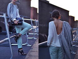 STYLISSIM . - Sandro Jacket, Vila Knit, Proenza Schouler Bag - METAL SUNSETS
