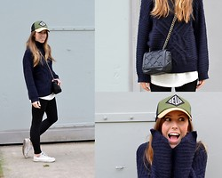 Daphne A. - H&M Chunky Knit, Zara Chain Bag, Deus Baseball Cap, Converse Low Chucks - FALL(ING) FOR COMFORT