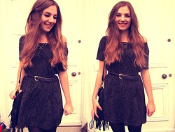 Helen D* - Vintage Glitter Dress, Vintage Black Belt, H&M Fringed Bag - *Glitter Ball*