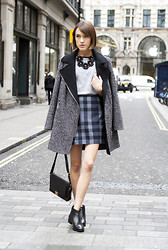 Ella Catliff - Oasis Coat, Oasis Necklace, Oasis Skirt, Oasis Bag, Oasis Boots - Shades of Grey