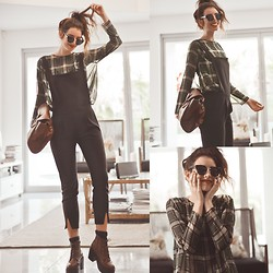 Elle-May Leckenby - Split End Overall Jumpsuit, Prep Check Blouse, Zerouv Retro Inspired Black Shades, Brown Lace Up Boots - Prep check