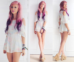 Amy Valentine - Sugar X Spark Rainbow Tie Dye Playsuit, She Likes Nude Platform Heels - YOUNG LOVE WAITS OUT THE WINDOW