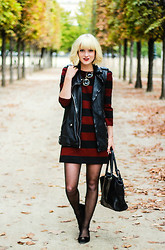 Olivia Taylor - All Saints Vest, Zara Dress - Stripes & leather