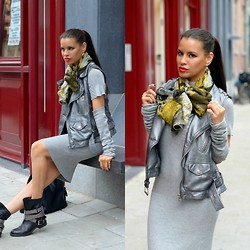 Tamara Chloe - Supertrash Leather Vest, Sqarf Scarf, Daniele Dentici Biker Boots, Miss Jcl Dress - Sleeved Up