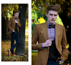 Zoltán Szilágyi - Self Designed Velvet Bow Tie With Zip, All Saints Shirt, Zara Double Breasted Structured Waistcoat, Zara Camel Blazer, American Apparel Vintage Watch From, H&M Trousers, Zara Asymmetric Vintage Brogues - Falling into fall #2