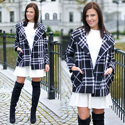 Renata M.. - Mango Coat, Preska Dress - White dress and overknee boots