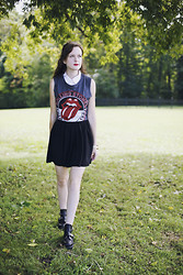Ashlyn K - Rolling Stones Tank Top, American Apparel Circle Skirt, Platform Booties - Playing with Fire