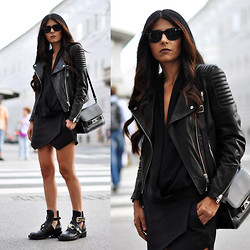 Maya Lorelei - Ray Ban Wayfarer Sunnies, H&M Biker Leather Jacket, Zara Shirt, Zara Skort, Proenza Schouler Bag, Balenciaga Cut Out Boots - All Black Everything