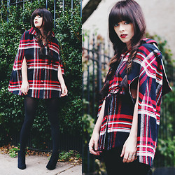 Rachel-Marie Iwanyszyn - Thrifted Plaid Cape, Express Suede Booties - THERE'S A CORNER OF YOUR HEART, FOR ME.