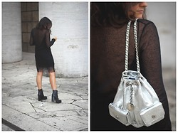 Flaviana B. - Zara Dress, Acne Studios Boots, Baracco Backpack - SILVER BACKPACK