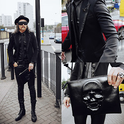 INWON LEE - Byther Stud Sunglasses, Skull Clutch - Cloudy day