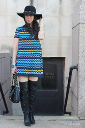 Samantha S - Marciano Hat, Missoni For Target Dress, Coach Otk Boots, Chanel Bag, Cc Skye Nail Bracelet - Hats off for Fall