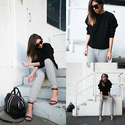 Kaitlyn Ham - Alexander Wang 'Jamie' Tote Bag, Bassike Classic Double Jersey Trackpant - Structured Sweat.