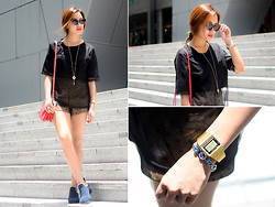 Laureen Uy - Kenzo Sunnies, Romwe Top, Trunk Show Short, Crystal Princess Jewel Necklace, Céline Bag, Mystery Of Retails Boots - Orchard Road (BMS)