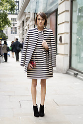 Ella Catliff - Oasis Striped Coat, Oasis Striped Dress, Oasis Leopard Clutch, Oasis Ankle Boots - Trans-seasonal Stripes