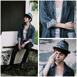 Ira Giorgetti - Zara Hat, Thrifted Denim Shirt, H&M Singlet, All Saints Jeans - Three
