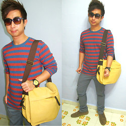 Aaron Tan - Uniqlo Striped Top, Jean Perie Grey Slim Pants, Zalora Mustard Messenger Bag, Kennett Black With Yellow Watch, Topman Army Green Desert Boots, Brandless Turtle Shell Sunnies - My Mustard Messenger