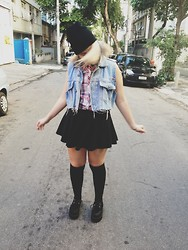 Karina Camargo - Creeper, Aliexpress Black Skirt, Forever 21 Plaid Shirt, Thrift Shop Denim Vest, Aliexpress Black Knee Socks - If you're going crazy, just grab me and take me