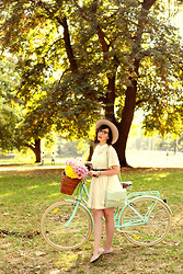Keiko Lynn - Sretsis Dress, Papillionaire Bicycle, Coach Clutch, Bloch Ballet Flats - Me and my bicycle.