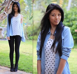 Rhea Hsu - Net Shirt, Truworths Black Leggings, Marks & Spencers Black Ankle Boots, Spike Necklace, Denim Shirt - Denim