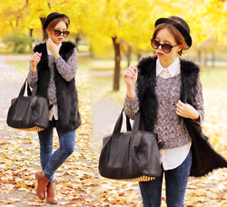 Wioletta Mary Kate - Romwe Vest, Romwe Sweater, Choies Hat, Modekungen Bag, Papilion Boots - Golden Autumn