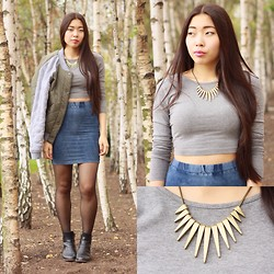 Fan Wan - Forever 21 Grey Cotton Crop Top, New Look High Waist Denim Pencil Skirt, Oliv, Grey Bomber Jacket, Nasty Gal Gold Necklace With Spikes - Crop