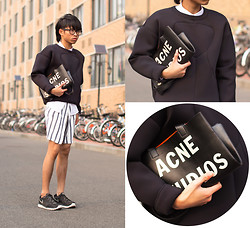Judas Lee - &Other Stories Scuba Pullover, Acne Studios 'Rumor' Leather Tote Bag, Zara White Shirt, Zara Striped Shorts, Nike Fitsole Sneakers - NEOPRENE (NEW BLOG!)