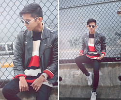 Mc kenneth Licon - Bonlook Weekend At Bernie's, H&M Biker Leather Jacket, Converse Sneakers, American Apparel Knit Sweater - Knit and Fall