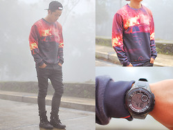 David Guison - Aloha From Deer Sweater, Mossimo Watch - Fire Burning