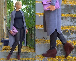 Liat Neuman - Urban Outfitters Cardigan, Mango Peplum Top, Bershka Booties - Autumn leaves