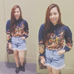 Maria Inah Requerme - Fashion Bulletin Floral Polo, Leshoppe09 High Waisted Fringed Shorts, Dv Black Velvet Oxfords - Plain Floral
